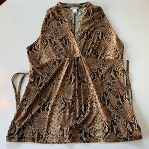 Cache Top Women Size Large Snake Skin Print Brown